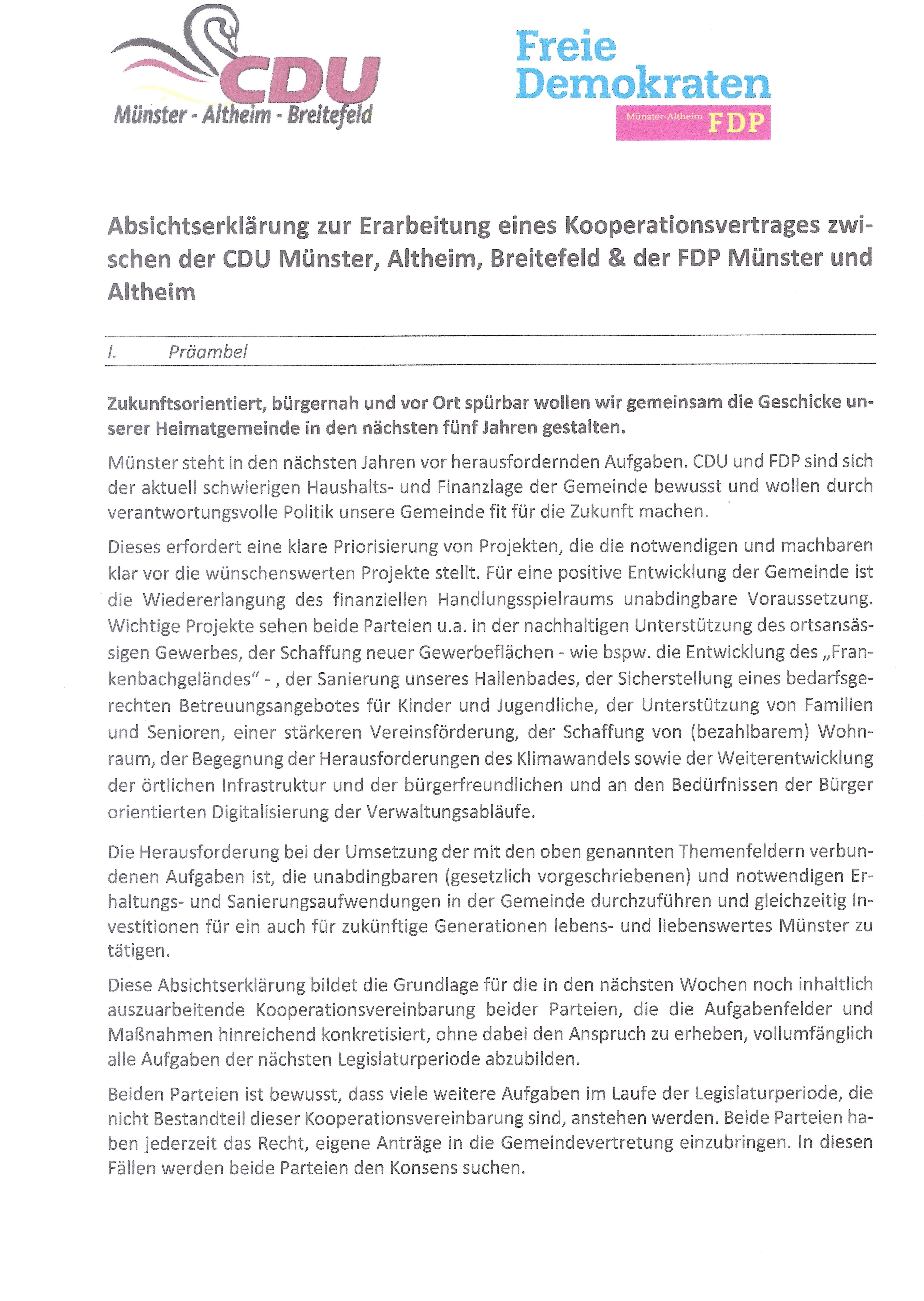 Die von CDU und FDP unterzeichnete Absichtserklärung zur Erarbeitung eines Kooperationsvertrages - Seite 1