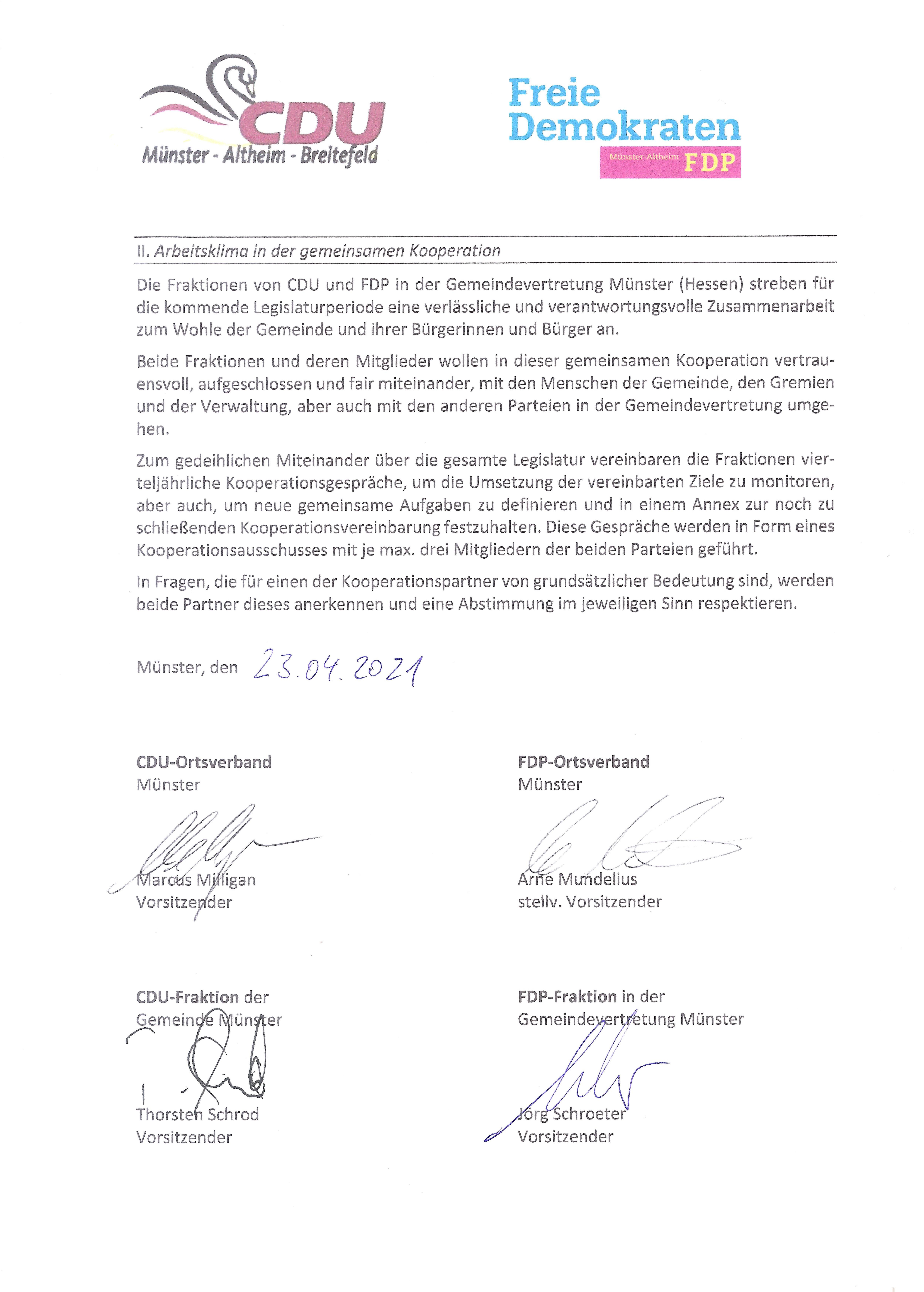 Die von CDU und FDP unterzeichnete Absichtserklärung zur Erarbeitung eines Kooperationsvertrages - Seite 2